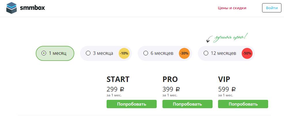 SMMbox цена и стоимость услуг
