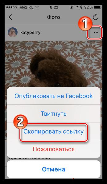 как скопировать ссылку в Инстаграме на фото на айфоне