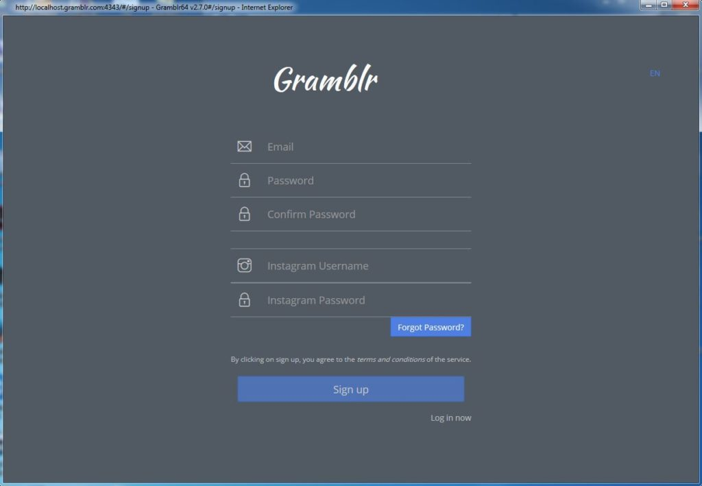 авторизация в программе gramblr через аккаунт в инстаграм