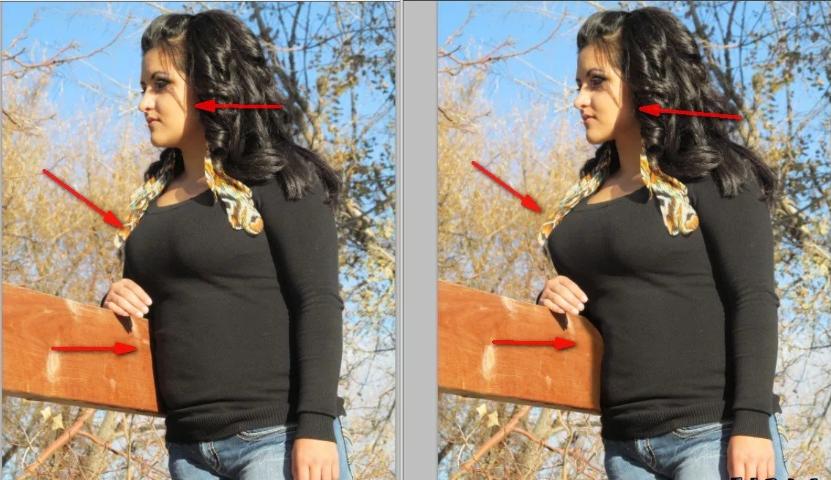 пример как можно убрать живот на фото для инстаграм